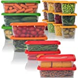 Amazon Price History for:Plas Glas 42 Pieces Food Storage Container with Lids, Stackable Kitchen Plastic, 4 Sizes, BPA Free, Multipurpose Use for Home Kitchen - Microwave, Freezer, Reusable & Dishwasher Safe