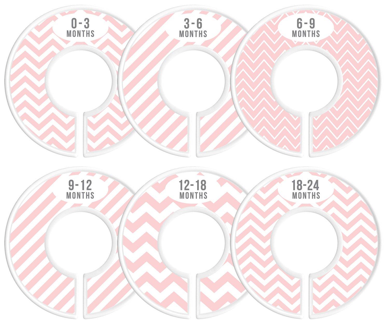 Delicush Baby Closet Dividers, Stripe, Chevron, Set of 6 Size Organizers, Nursery Closet Organizers, Baby Size Dividers, Glossy Finish, Boy, Girl (Pink)
