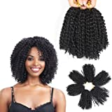8 Inch Short Marlybob Crochet Hair 3 Bundles/Lot Kinky Curly Crochet Braids Ombre Braiding Hair Synthetic Hair Extension…