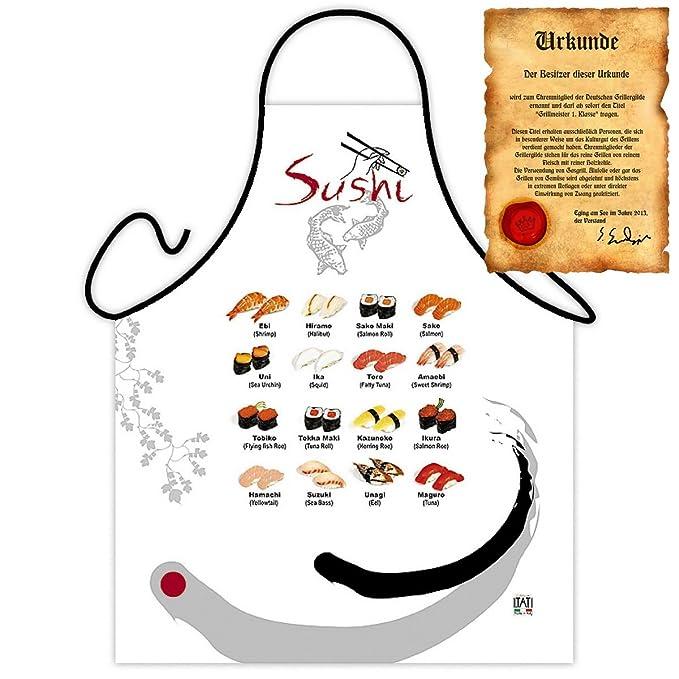 Delantal con certificado - Sushi - divertido diseño Delantal ...
