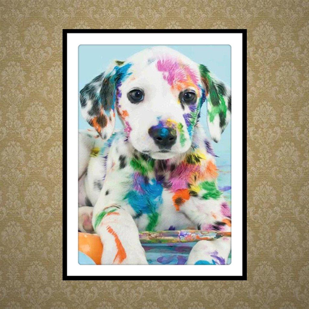 JAGENIE Dog Puppy 5D Diamond Painting DIY Embroidery Cross Stitch Kit Office Home Decor 30x40CM