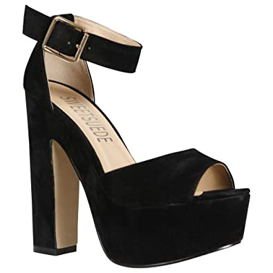 69b458e122e NEW WOMENS LADIES ANKLE STRAP PLATFORM CHUNKY HIGH HEEL SANDALS SHOES SIZE  3-8  Amazon.co.uk  Shoes   Bags