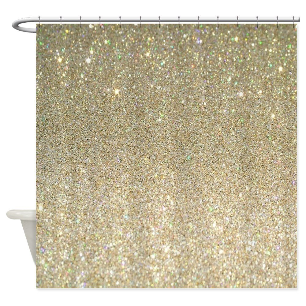 "CafePress - Art Deco Gold Glitter - Decorative Fabric Shower Curtain (69""x70"")"