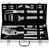 grilljoy 20PCS Heavy Duty BBQ Grill Tools Set - Extra Thick Stainless Steel Spatula, Fork& Tongs. Complete Barbecue Accessori
