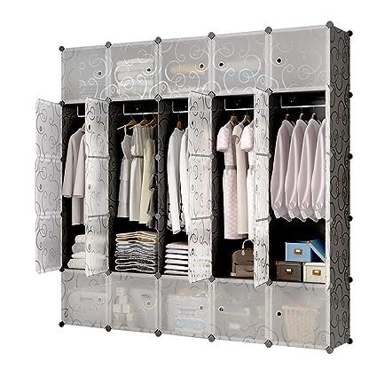 Amazon.com: KOUSI Portable Closet Clothes Wardrobe Bedroom Armoire Storage  Organizer With Doors, Capacious U0026 Sturdy, Black (10 Cubesu00265 Hanging  Sections): ...