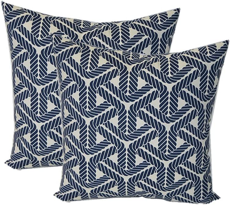Resort Spa Home Decor Set of 2 – Indoor Outdoor Square Decorative Throw Toss Pillows – Navy Blue and Ivory Nautical Rope – Choose Size 24