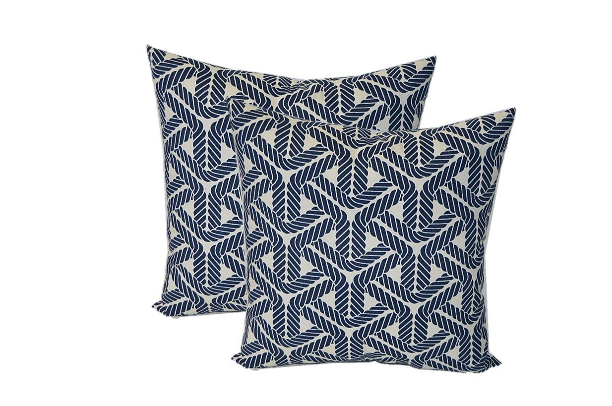 Set of 2 - Indoor / Outdoor Square Decorative Throw / Toss Pillows - Navy Blue and Ivory Nautical Rope - Choose Size (17'')