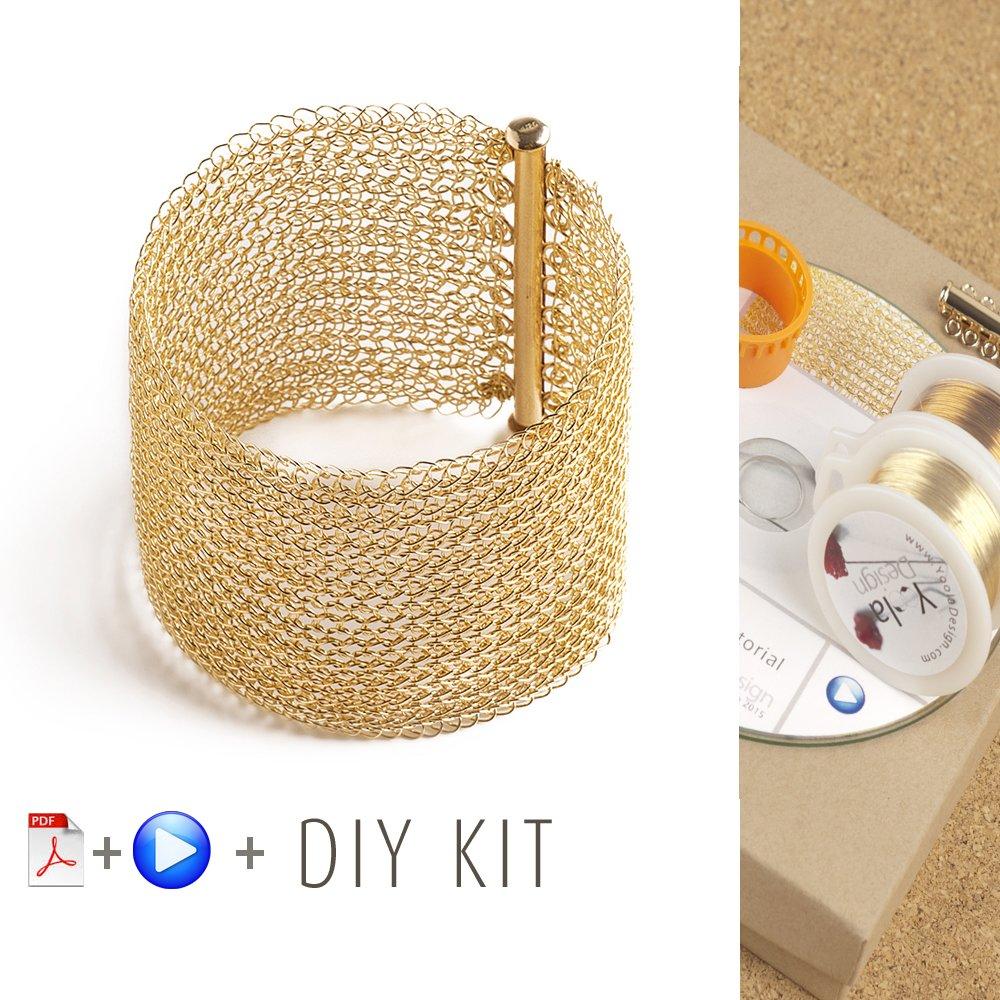 Bracelet pattern Kit - Wire crochet pattern - Crochet jewelry Kit - kit crochet wire jewelry -Making Jewelry Kit - Crochet Bracelet kit