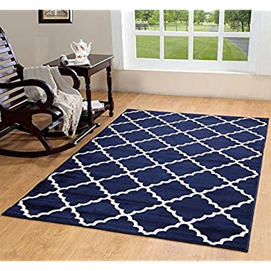 Furnish my Place Contemporary Trellis Modern Geometric Area Rug 635, Blue