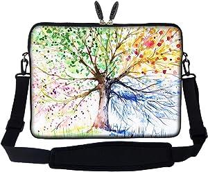 Meffort Inc 17 17.3 inch Neoprene Laptop Sleeve Bag Carrying Case with Hidden Handle and Adjustable Shoulder Strap - Four Seasons Tree