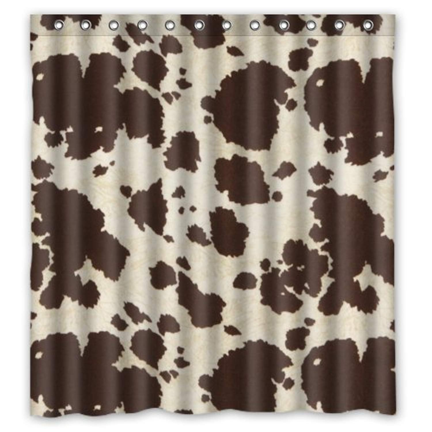 Amazon Crystal Emotion Luxury Fabric Shower Curtain Brwon Cowhide Cow Skin Look Print 60x72inch Home Kitchen
