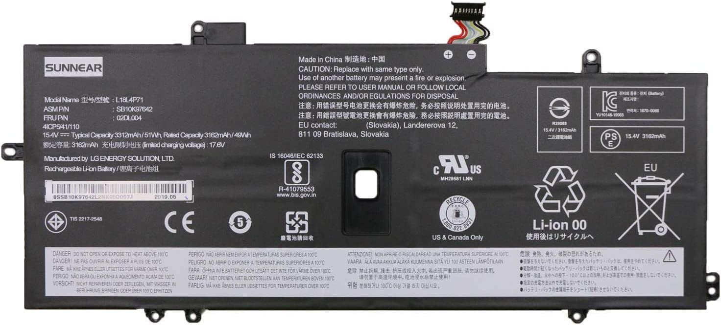 SUNNEAR L18L4P71 02DL004 51Wh Battery Replacement for Lenovo ThinkPad X1 Yoga 4th 5th Gen ThinkPad X1 Carbon 7th 8th Gen Laptop L18C4P71 SB10K97644 L18M4P72 SB10K97643 SB10T83173 5B10W13930 SB10K97642