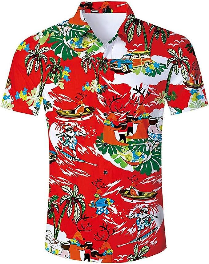 Camisas Hawaianas LANSKIRT Polos Verano Manga Corta 3D Stampados ...