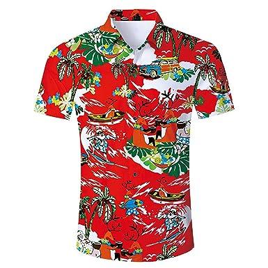 bd364668 Funny Hawaiian Shirt Men Short-Sleeve Coconut Tree Print Shirts at ...