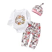 Baby Girl Clothes Long Sleeve Floral Bodysuit Romper + Floral Pant + Hat 3pc Outfit Set 3-6Months White