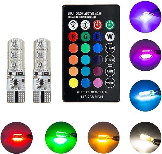 2 x T10 W5W 5050 6SMD RGB LED Multi Color Light Car Wedge Bulbs Remote Control