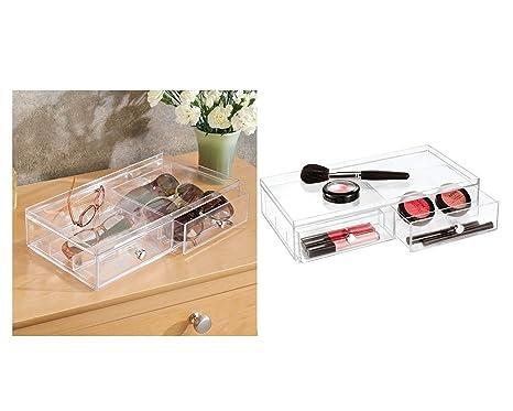 InterDesign Drawers Caja para guardar gafas | Caja organizadora apilable para gafas, gafas de lectura y gafas de sol | Caja para gafas con 2 cajones | ...