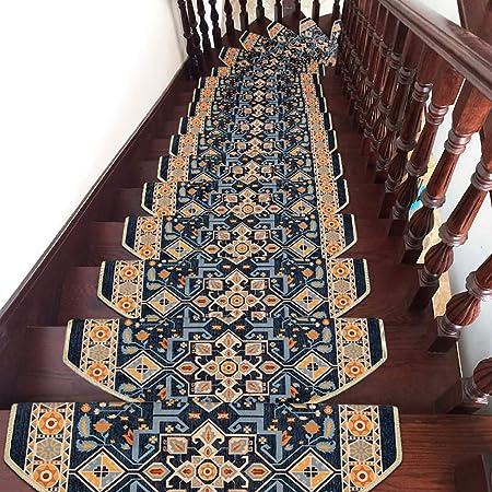 HSRG Alfombra de Escalera de Estilo Europeo, Alfombra Antideslizante escaleras, alfombras de Paso de Piso Antideslizante, Acolchado Adhesivo sin Fisuras, Paquete de 10: Amazon.es: Hogar