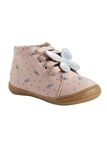 online retailer 1e13f 8251b Vertbaudet Hohe Leder-Sneakers für Mädchen Zartrosa Bedruckt ...
