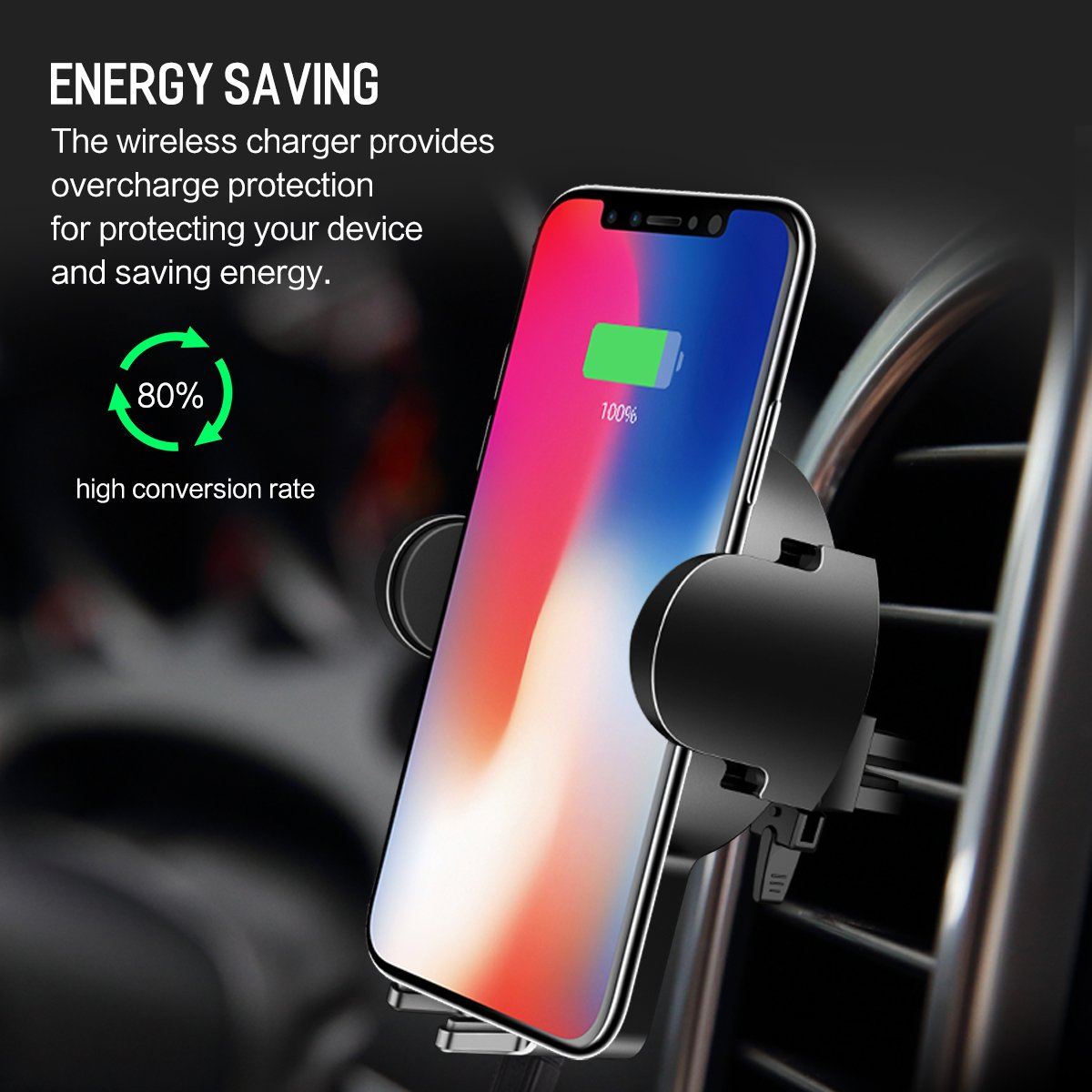 Samsung Galaxy S8 Cell Phone Holder for Car Note 8 5 /& Qi Enabled Devices More/&Better 4351483446 Qi Wireless Fast Charge Car Phone Mount Charger for iPhone X S7//S7 Edge iPhone 8 Plus