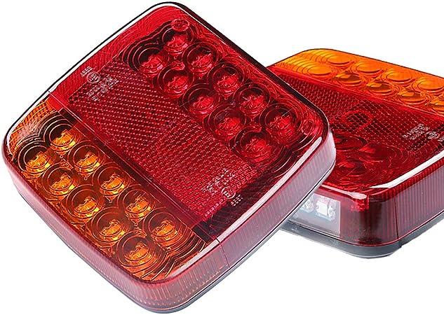 Aohewei Led Anhänger Rückleuchten Lkw Bremsleuchte 12v Blinklicht Anzeige Lampe Beleuchtung Hinten Wasserdicht Für Anhänger Lkw Wohnwagen Van Oder Traktor 20 Led Chips 1 Paar Auto
