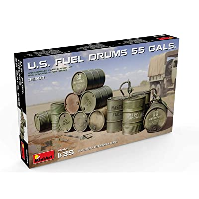 Miniart 35592 US Fuel Drums 55 Gallons, 1/35 Scale Building and Accessories Series Plastic Figure Building Model Kit: Toys & Games