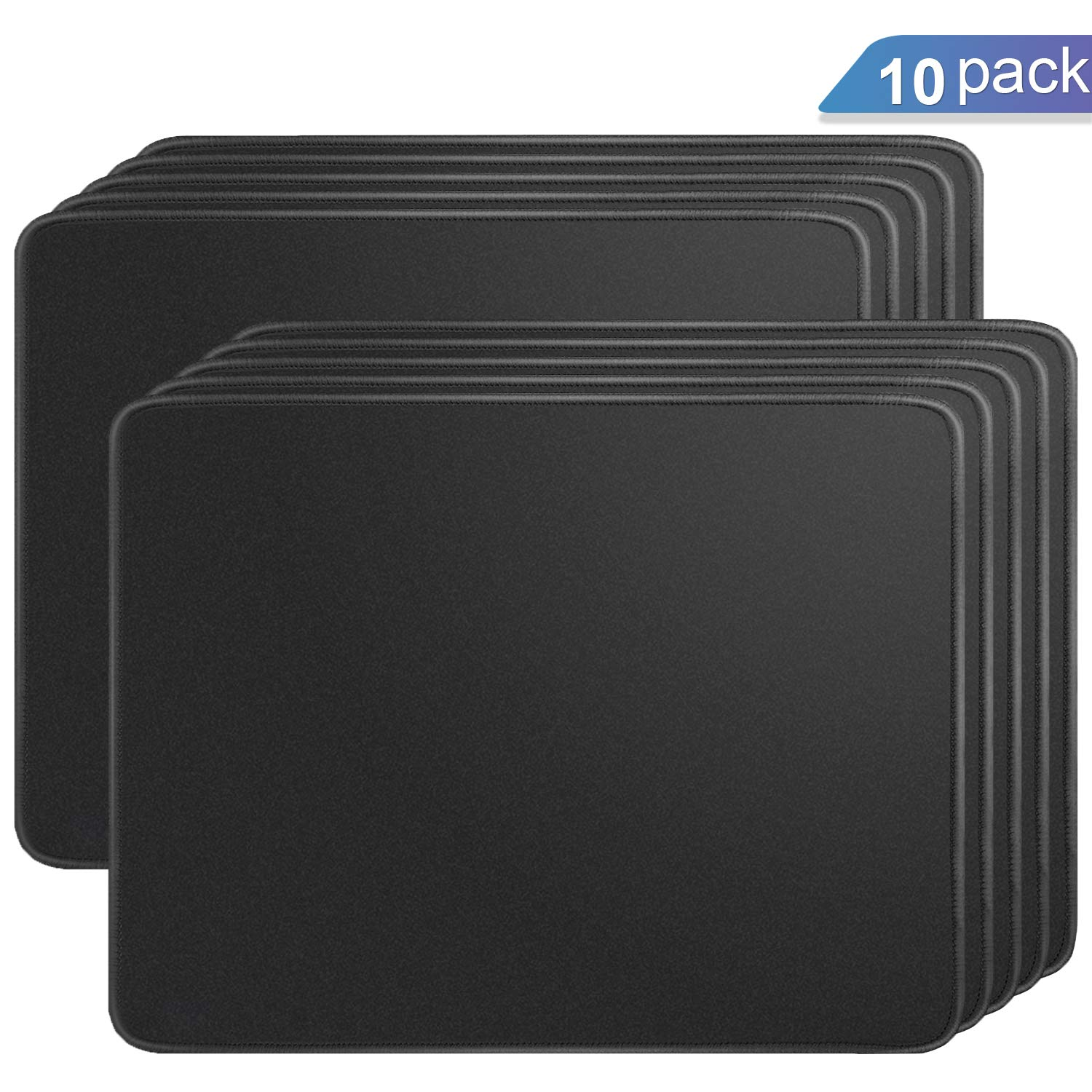 Ktrio 10 Pack Mouse Pad with Stitched Edges Mousepads Bulk with Lycra Cloth, Non-Slip Rubber Base, Waterproof Coating Mouse Pads for Computers, Laptop, Office & Home, 11x8.5in, 3mm, Black by KTRIO