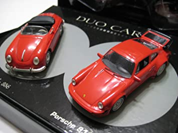 Universal Hobbies Duo Cars (China Red Porsche 356A & 911 Turbo Diecast 1:43