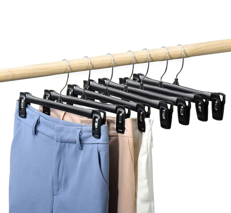 Slacks Jeans ilauke 12 Pack Trouser Hangers Skirt Hangers Black Plastic Clothes Hangers with Strong Non-slip Adjustable Clips Hangers for Skirts 360/° Hook