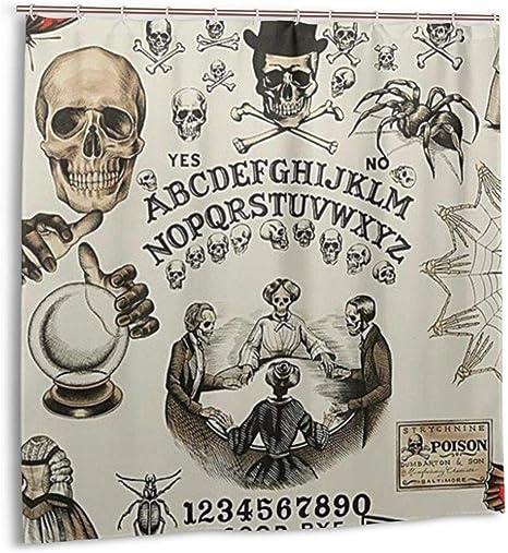 Hotyle Cortina de Ducha Trick Or Treat Ouija Board Skulls