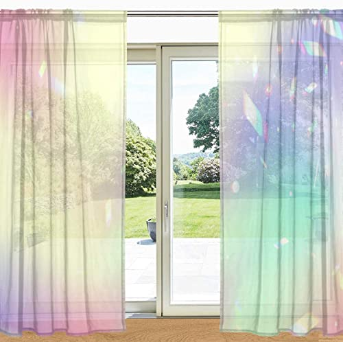 ALAZA Iridescent Gradient Rainbow Glare Semi Sheer Curtain