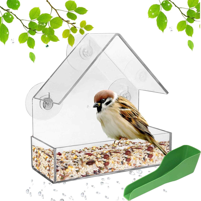 ODOOKON Comedero para Pájaros Acrílico Transparente Ventana de Casa de Pájaros sin Taladro con Cuchara de alimentación con 3 Ventosas Alimentador De Aves Abierto para Colgar en Forma de Casa