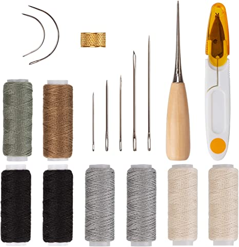 Upholstery Repair Kit 18 Pieces Upholstery Thread Assorted Hand Sewing Needles Carpet Leather Canvas DIY Tool Set