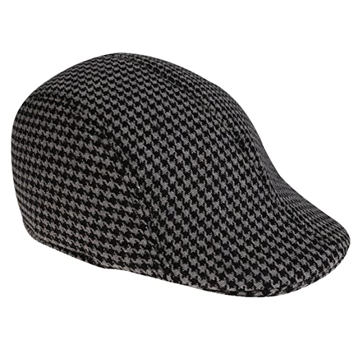 faa87e0ed4 TiaoBug Men's Cotton Houndstooth Pattern IVY Gatsby newsboy Flat Cap ...