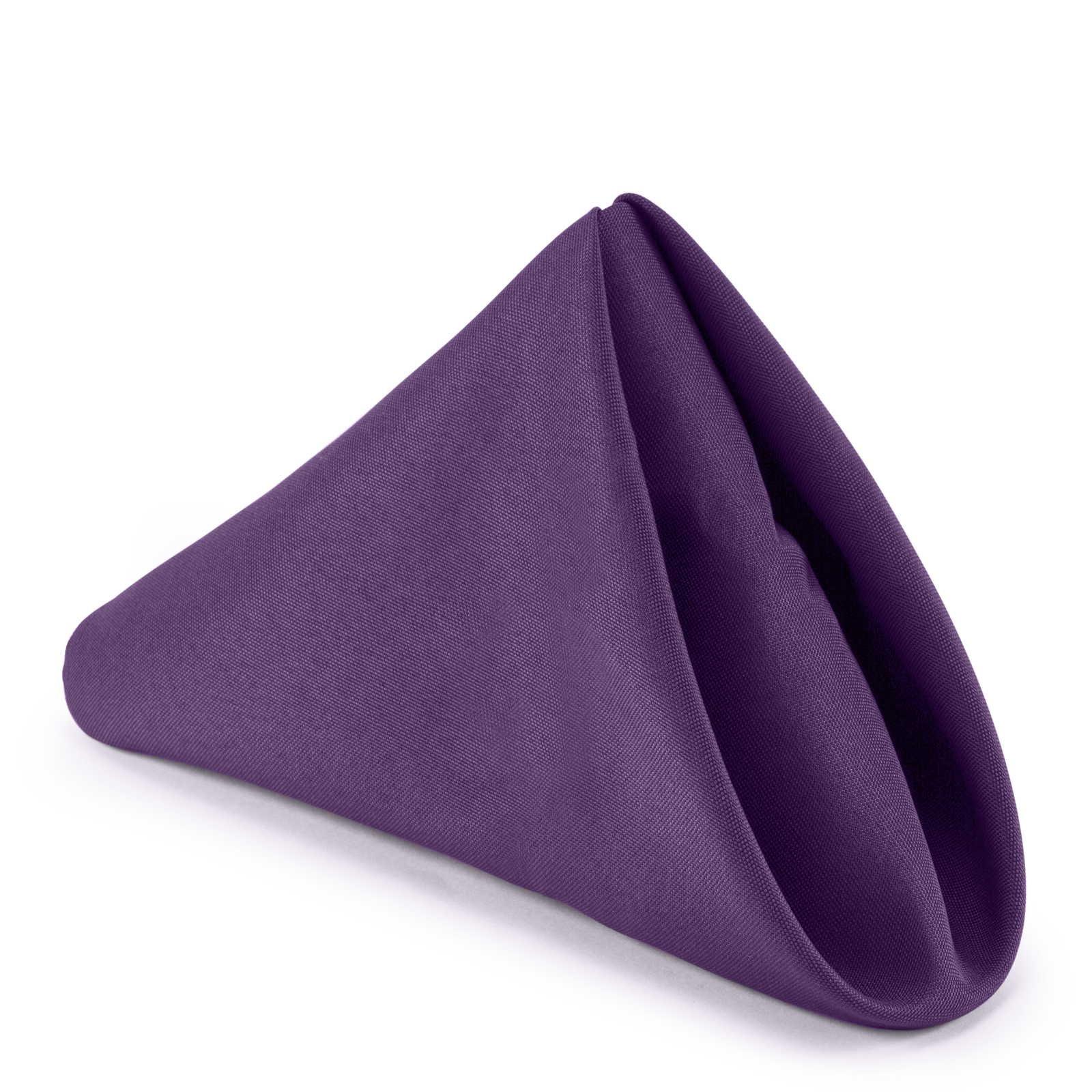 Lann's Linens - 1 Dozen 20'' Oversized Cloth Dinner Table Napkins - Machine Washable Restaurant/Wedding/Hotel Quality Polyester Fabric - Purple
