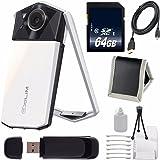 Casio Exilim EX-TR70 Selfie Digital Camera (White) (International Version) No Warranty + Micro HDMI Cable + SD Card USB Reader + Memory Card Wallet + 64GB SDXC Class 10 Memory Card Bundle