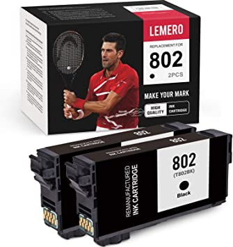 LEMERO Remanufactured Ink Cartridges Replacement for Epson 802XL 802 T802XL T802 to use with Workforce Pro WF-4740 WF-4730 WF-4734 WF-4720 EC-4020 EC-4030 (Black, 2-Pack)