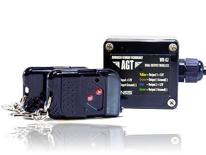 agt 12v waterproof wireless remote control dc universal 2 channel rh amazon com Simple Light Bar Wiring Diagram Polaris Light Bar Wiring Diagram