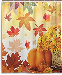 Wamika Sunflower Maple Leaves Pumpkin Autumn Fall Flowers Shower Curtain Polyester Waterproof,Happy Thanksgiving Day Harvest Give Thanks Bath Room Shower Curtain Set with Hooks 60 W x 72 H inches