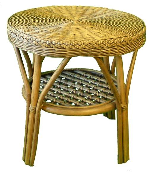 2 tono cesta de mimbre mesa de café: Amazon.es: Jardín