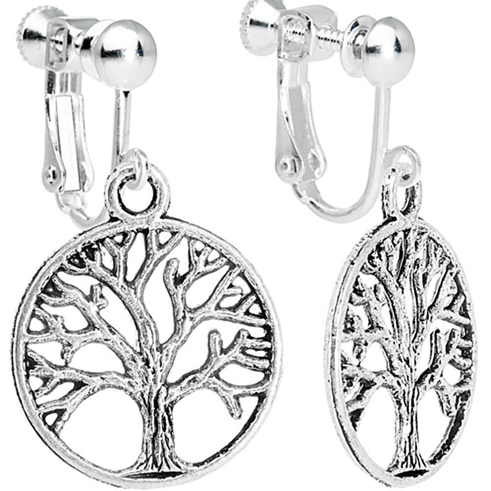 Body Candy Tree of Life Clip On Dangle Earrings HC-4803