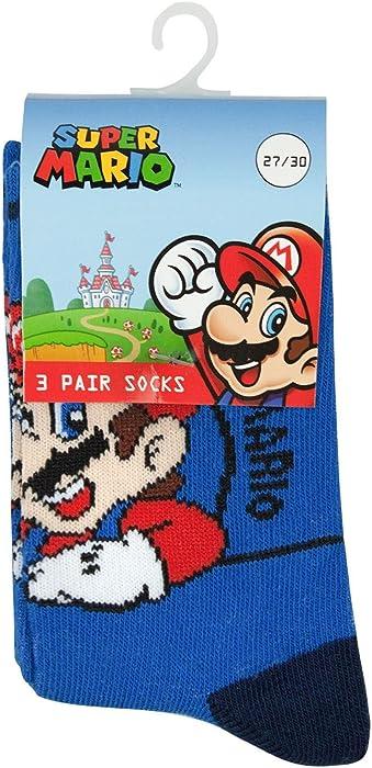WS-166515 23//26 A Official Super Mario Licensed Boys Girls Childrens Socks Set 3-PACK