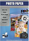 PPD Inkjet Glossy Photo Paper Legal 8.5x14 49lb. 180gsm 9.9mil x 50 Sheets (PPD133-50)