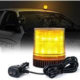 Xprite Amber/Yellow Rotating Revolving LED Beacon Strobe Light, with Magnetic Mount, 12LEDs Emergency Warning Caution Flashing Light for Snow Plow Truck UTV 12v Vehicle