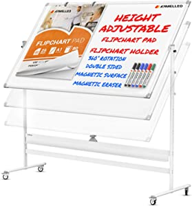Mobile Whiteboard - Large 360° Reversible Double Sided Dry Erase Board - Magnetic Big White Board on Wheels - Office Classroom Portable Rolling Easel Stand with Flip Chart Holders, Paper Pad | 70x36