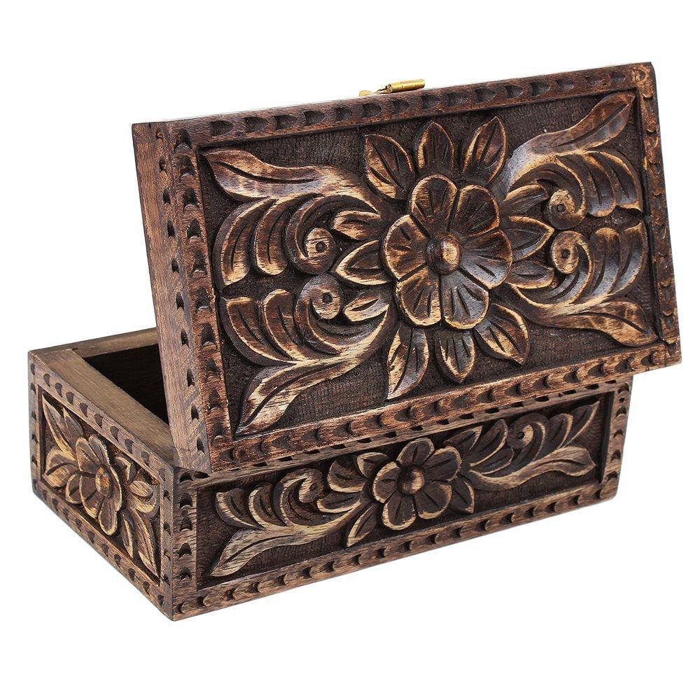 D/ía de Navidad regalos joyer/ía joyero caja de madera cuadrada peque/ña caja de recuerdos hechos a mano Fine Celtic incrustados multiusos organizador