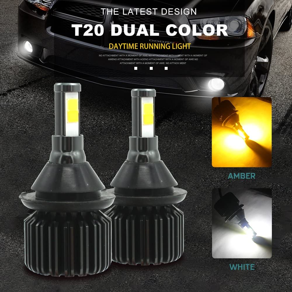 T20 7440,Switchback LED Bulbs White/Amber, Super Bright COB Daytime Running Light DRL Bulbs Lamp with Fans (Pack of 2)