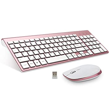 FENIFOX Teclado Inalámbrico y Mouse,diseño ergonómico 2,4 G Teclado inalámbrico y ratón Combinado con Nano Receptor USB para PC de Escritorio, ...