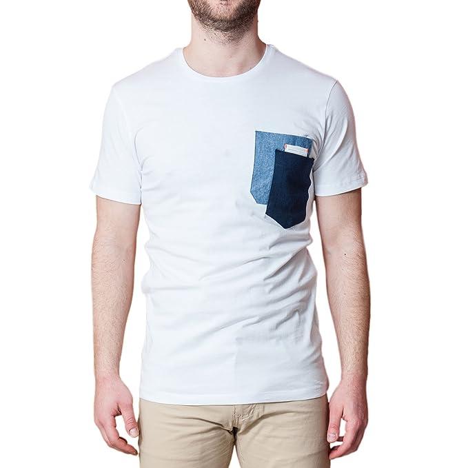 outlet store 0e761 2d1be T Shirt Uomo Bianca con Taschino Cotone Elasticizzata Maglietta Manica  Corta Primavera Estate Maglia Mezza Manica Vintage