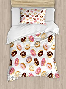 Ambesonne Food Duvet Cover Set Twin Size, American Traditional Classic Breakfast Fast Food Dessert Sweet Tasty Donuts Art Print, Decorative 2 Piece Bedding Set 1 Pillow Sham, Multicolor